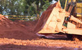 Bauxite mining in weipa queensland australia is an aluminium ore and is the main source of aluminium big bucket scoop Royalty Free Stock Photos
