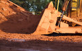 Bauxite mining in weipa queensland australia is an aluminium ore and is the main source of aluminium big bucket scoop Royalty Free Stock Photo