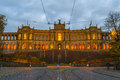 Bavaria government building in munich germany sunset view of the on november Royalty Free Stock Photo
