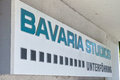 Bavaria studios unterföhring sign infront of the german film production company in Stock Photography