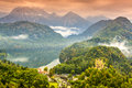Bavarian alps misty day in the near fussen germany Stock Photography