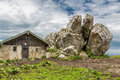 Bavarian alps rocks next to a hut in the Stock Images
