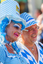 Bavarian drag queen at christopher street day stuttgart germany july th man dressed as woman with a beer top hat participates the Royalty Free Stock Image