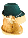 Bavarian felt hat on linden wooden block and additional isolated white background Royalty Free Stock Photos