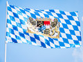 Bavarian flag the in front of blue sky Stock Photography