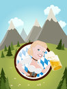 Bavarian girl with beer illustration of a Stock Photography