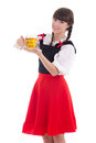 Bavarian girl with cup of beer over white Royalty Free Stock Photography