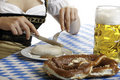 Bavarian Girl having a Oktoberfest meal Royalty Free Stock Photo
