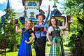 Bavarian group with beer of men and women in traditional german tracht Stock Photos
