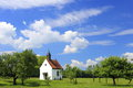 Bavarian little church in landscape with blue sky Royalty Free Stock Photography
