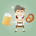 Bavarian man with beer and pretzel