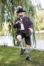 Bavarian man dancing Royalty Free Stock Photo