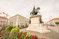 Bavarian ministry of finance statue infront the Royalty Free Stock Photo