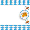 Bavarian national colors white centre beer pretzel blue rhombus pieces on the background Royalty Free Stock Image
