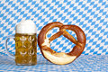 Bavarian oktoberfest beer stein with pretzel Royalty Free Stock Photo