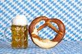 Bavarian oktoberfest beer stein with pretzel Royalty Free Stock Photo