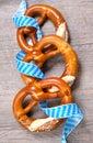 Bavarian pretzels with ribbon oktoberfest Stock Photo