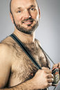 Bavarian tradition an image of a hairy man in Stock Image