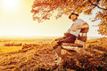 Bavarian tradition a traditional man in the autumn nature Stock Image