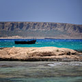 Bay Balos with boat crete Royalty Free Stock Image