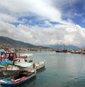 Bay with boats in alanya and yachts turkey Stock Photos