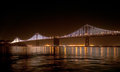 Bay bridge with bay lights on connecting san francisco and oakland got a new artwork an iconic light sculpture designed by world Royalty Free Stock Photos