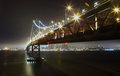 Bay bridge at night scene san francisco Stock Photography