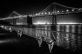 Bay bridge at night suspension lit up san francisco san francisco california usa Stock Photo