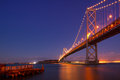 Bay bridge at night suspension lit up san francisco san francisco california usa Stock Image