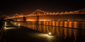 Bay bridge at night suspension lit up san francisco san francisco california usa Royalty Free Stock Image