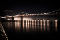 Bay bridge at night suspension lit up san francisco san francisco california usa Stock Photos