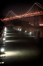 Bay bridge at night suspension lit up san francisco san francisco california usa Royalty Free Stock Photography