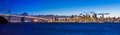 Bay bridge and san francisco evening panorama of taken from treasure island Royalty Free Stock Image