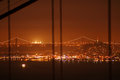 Bay bridge seen from the golden gate bridge at night and lit up san francisco san francisco california usa Royalty Free Stock Photo
