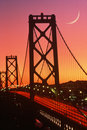 Bay Bridge at sunset, San Francisco, CA Royalty Free Stock Image