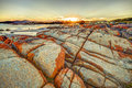 Bay of fires at sunset scenic and pristine white sandy beach with turquoise crystal waters and orange lichen covered granite Royalty Free Stock Photo