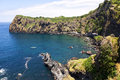 Bay and fishery harbor at Capelas, Sao Miguel, Azores Royalty Free Stock Photo