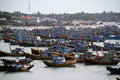 Bay of fishing boats in vietnam scenic view traditional Royalty Free Stock Photos