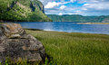 Bay of the fjord low tide in this located in quebec Royalty Free Stock Photos