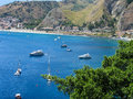 The bay of Giardini Naxos in Sicily from Taormina Royalty Free Stock Photo