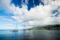Bay on martinique carribean sea with anchoring boats Royalty Free Stock Photos