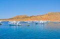 Bay with moored ships at anchor Royalty Free Stock Photo