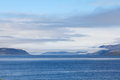 Bay and mountains norway view of blouds in northern Royalty Free Stock Photography