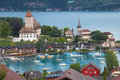 Bay of spiez in the lake thun switzerland Stock Photo