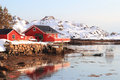 Bay of steine traditional fisherman s cabins the village in lofoten islands Stock Image