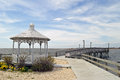 Bay view side of pier and gazebo Stock Photos