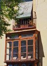 Bay Window and Balcony, Old Toledo Apartment, Spain Royalty Free Stock Photo