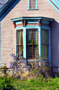 Bay window and wysteria victorian home has decorative trim in brown green purple grows over outside casements Royalty Free Stock Photos