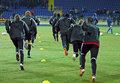 Bayer 04 Leverkusen players warming-up Royalty Free Stock Image