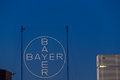 Bayer ag leverkusen germany september huge illuminated advertising at the headquarter and factory of chemical and pharmaceutical Royalty Free Stock Images